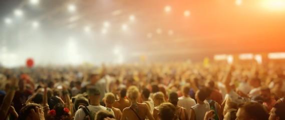 Fototapeta Crowd During Music Concert At Night