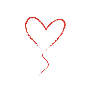 Hand drawn vector Love Heart shape balloon graphic element. Sketch red valentine's day or wedding paint frame