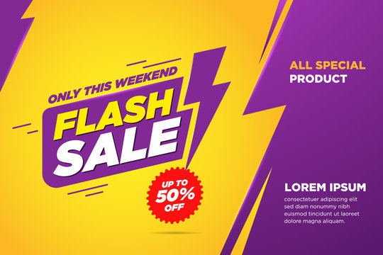 Flash sale discount banner template promotion. lightning icon Text Yellow and purple Background. vector illustration.