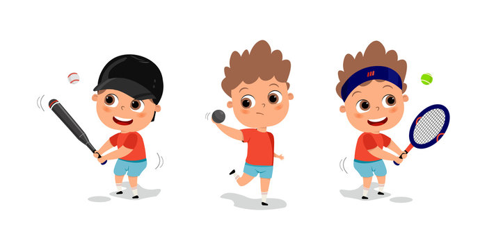 Kids playing various sports vector illustration. happy cute kid teen play baseball tennis trowing. Sport games. Competition.