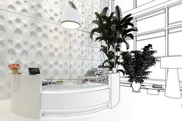 Modern Reception Desk (sketch) - 3d visualization