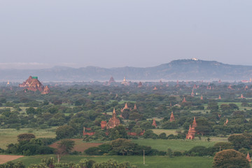 Printed kitchen splashbacks Khaki Landscape View Sunrise of Ancient Temple and Pagoda in Bagan