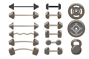 Dumbbell,barbell,Kettlebell vector set collection graphic clipart design