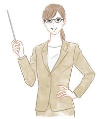 指示棒を持ったスーツの女性