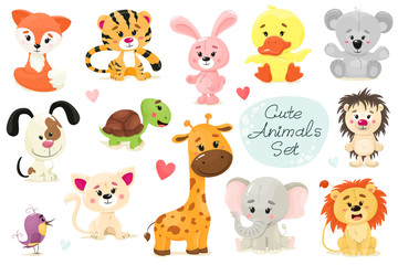 Cute set of animals. Vector animal isolates in cartoon flat style. White background.