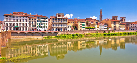 Tuinposter Florence Arno river waterfront of Florence panoramic view