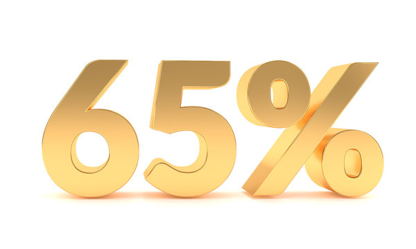 3d 65 percent discount sale promotion. 65% discount isolated on white background
