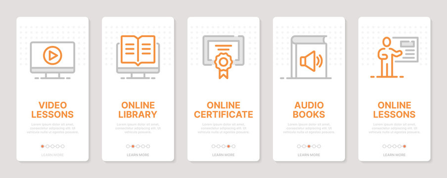 E-learning realted vertical cards. Mobile app onboarding screens Templates for a website. Icons with editable stroke