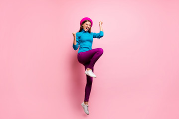 Deurstickers Hoogte schaal Full length photo of ecstatic girl jump win black friday lottery discount raise fists scream yeah wear stylish modern clothes isolated over pastel pink color background