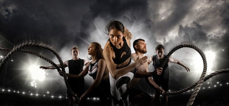 Sport collage. Men and woman running on smoke background