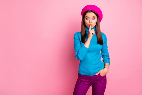 Portrait of her she nice-looking attractive lovely pretty fashionable brown-haired girl showing shh sign secret sale discount isolated over pink pastel color background