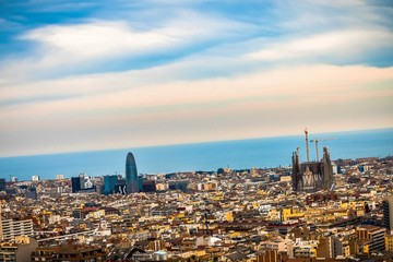 Photo sur Toile Europe Centrale AERIAL VIEW OF CITYSCAPE AGAINST CLOUDY SKY