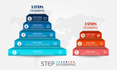 Pyramid shape elements of graph,diagram with steps on world map background. Creative business data visualization.