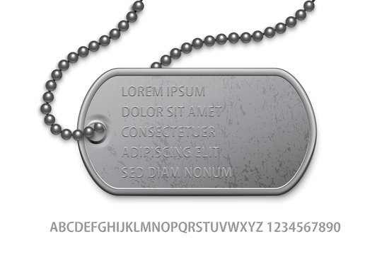 Badge military with chain text template on white