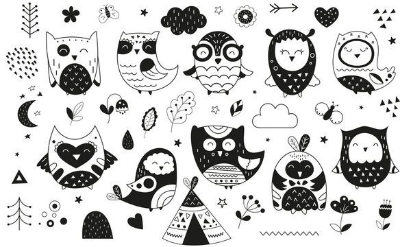 Cute scandinavian owls. Hand drawn. Doodle cartoon owls for nursery posters, cards, t-shirts. Monochrome vector illustration. Flowers, wigwam and plants.