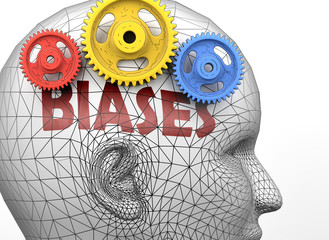 Biases and human mind - pictured as word Biases inside a head to symbolize relation between Biases and the human psyche, 3d illustration