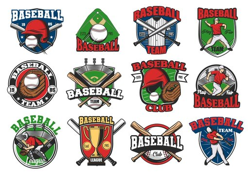 Baseball sport vector icons and badges, game cup and team symbols. Softball school, team, league icons of baseball, catcher player and batter with bat and ball
