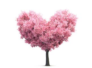 pink valentine blossom tree in heart shape 3D illustration