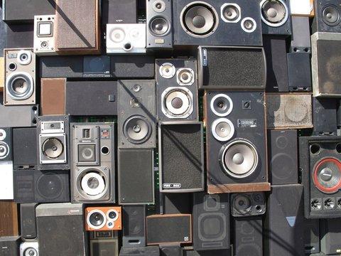 Full Frame Shot Of Speakers