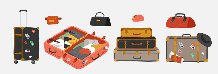 Set of various vintage, retro luggage bags, open suitcase with packed travel stuff, case, clutch and clothes. Hand drawn trendy colorful isolated design elements. Cartoon vector