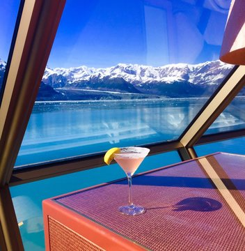 Drink On Table By Window Against Sea