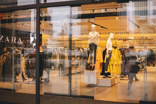 WARSAW, POLAND - JUN 2020: Zara store in WArsaw. Zara is one of the largest international fashion companies