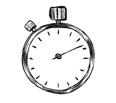Alarm clock hand drawn sketch isolated on white background. Clock Icon Vector illustration..
