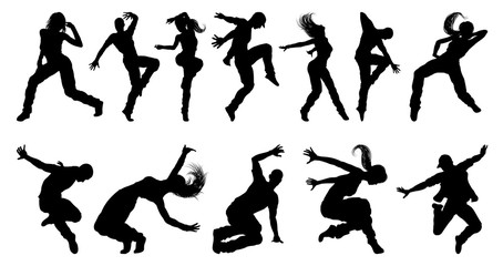 A set of men and women street dance hip hop dancers in silhouette Wall mural