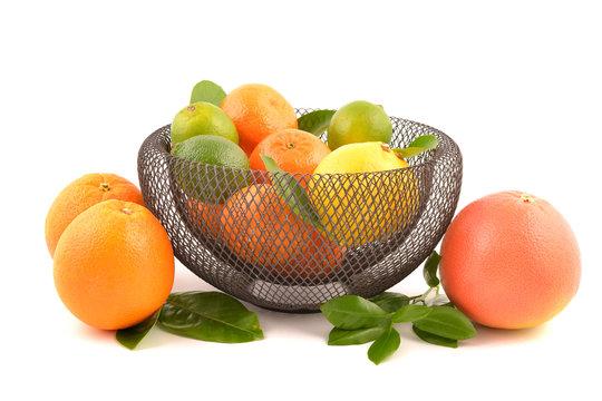 Citrus fruits in basket, isolated on white background. Lemon, orange, lime.