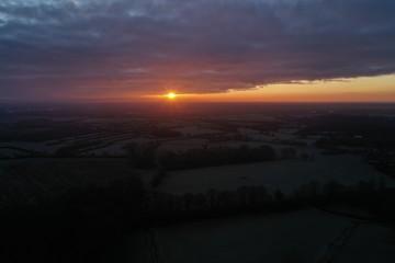 Nienburg Sonnenaufgang Luftaufnahme Landwirtschaft