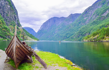 Viking boat on the coast of the Nereyfjord, Gudvangen, Norway.
