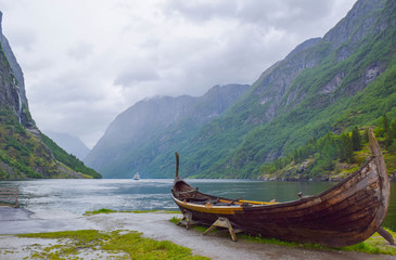 The Viking boat, in Gudvangen, Nereyfjord,  Norway.