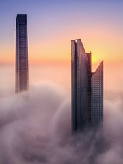 Skyscrapers And Cloudscape During Sunset