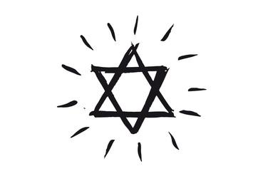 Star of David, set. Hand drawn illustration. Grunge star of David.