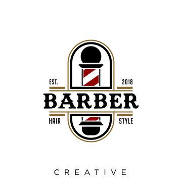 barber shop logo design retro symbol