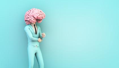 businessman with brain head