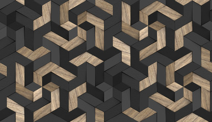3D Wallpaper mosaic of solid wood particles and black painted elements.