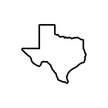 Texas map icon on white background, Texas symbol, Texas map.