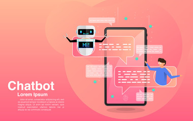 Chatbot, chatting with chatbot application, chatbot technology and online help center, Vector EPS 10