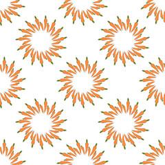Seamless pattern with cozy orange carrots on white background for fabric, textile, clothes, tablecloth and other things. Vector image.