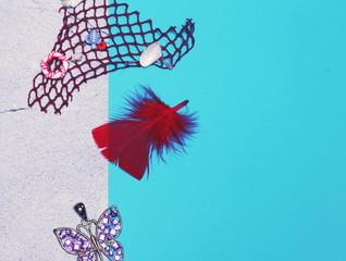 Türaufkleber Schmetterlinge im Grunge Beautiful, delicate background in blue colors on marble.