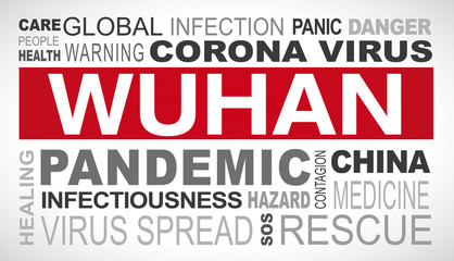 Wuhan corona virus outbreak related tags word cloud illustration
