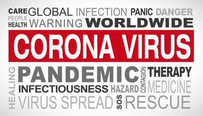 Corona virus outbreak related tags word cloud illustration
