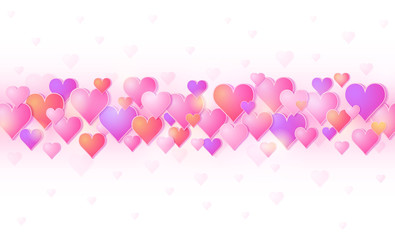 Wall Mural - Pink banner with valentines hearts. Valentines greeting background. Horizontal holiday background, headers, posters, cards, website. Vector illustration