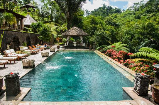 BALI,INDONESIA - JULY 29,2009: decorative pool adorns a resort in the interior part of bali near ubud