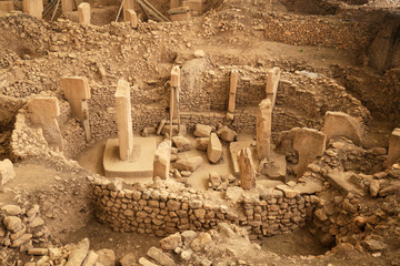 Ritual circle in the oldest temple of world - Gobeklitepe. October 2019.