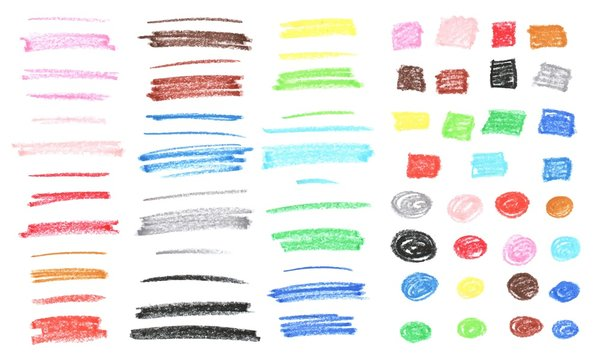 Colorful textured chalk stripes, squares and circles. Pastel, crayon hand drawn colourful elements.