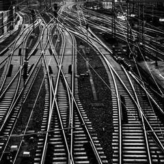 Stores à enrouleur Voies ferrées High Angle View Of Railroad Tracks