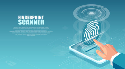 Vector of a business man using interface with fingerprint scan to access his mobile device
