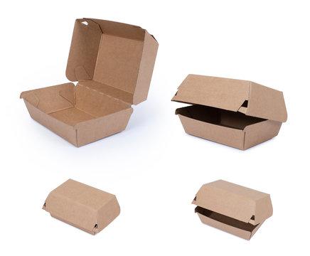 Brown paper food box. Kraft paper lunch box.